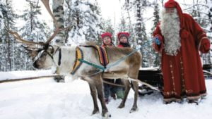 Father Christmas with reindeer